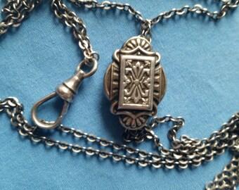 Antique Sterling Silver Engraved Filigree Black Enamel Slide Chain