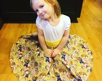 Beauty and the Beast Belle twirly dress, toddler and childrens sizes