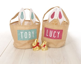 Personalised Easter Egg Basket embroidered glitter felt bunny ear bucket