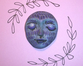 "SALE - Luna Moon Face CABOCHON,1.75"" by 1.5"",large,people,Goddess,large focal,blue pearl,bead,polymer clay,purple,blue,black,carved"