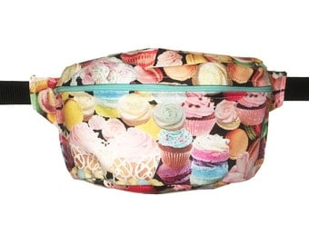 Cupcake BUM BAG FANNY pack, Hands free Belt Bag, Hip Bag, Belt Pouch, Belt Bag