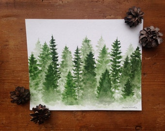 Green Misty Pines - Original Watercolor Painting