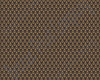 Black with gold anchor craft  vinyl sheet - HTV or Adhesive Vinyl -  nautical pattern HTV3301