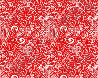 Red heart and swirl pattern craft  vinyl sheet - HTV or Adhesive Vinyl -  Valentine's Day HTV3952