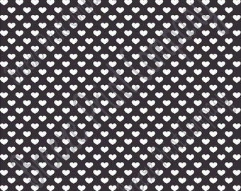 Black with white small heart craft  vinyl sheet - HTV or Adhesive Vinyl -  Valentine's Day HTV3956