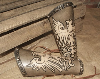 Leather 'Arthur' Vambraces - Eagle