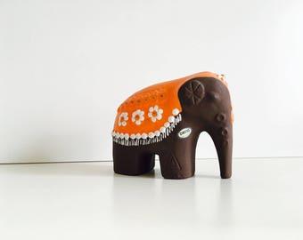 Vintage mid century ceramic elephant figurine Deco Helsingborg made in Sweden - Swedish Scandinavian modernist pottery - Rosa Ljung