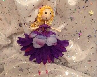 """Handmade Fairy- """"Purple Fairy with blond curly hair"""""""