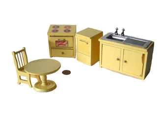 Miniature Stove Sink Dishwasher Table and Chairs Miniature Furniture Fairy House Furniture Doll House Furniture Miniature Dollhouse