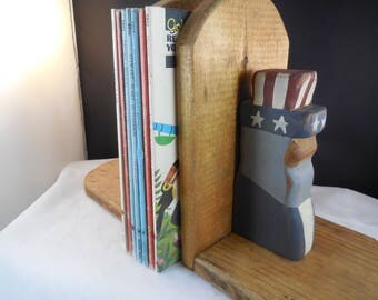 Bookends, vintage, patriotic - Uncle Sam made from wood.