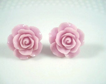 Purple Rose Stud Earrings Flower Posts