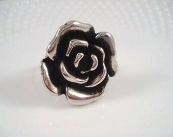 Silver Rose Adjustable Ring