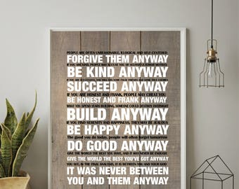 Christian Wall Art, Mother Teresa Quote, Mother Teresa Do It Anyway, Pintable Wall Art, Instant Download, Inspirational Print, Wedding Gift