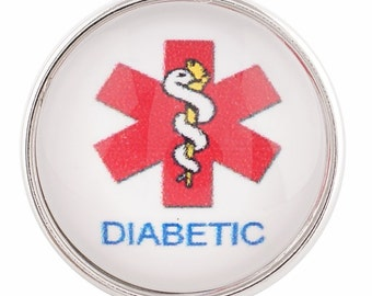 "SALE!  Ginger Snap Style ""Diabetic"" Snap Charm Chunk Popper"