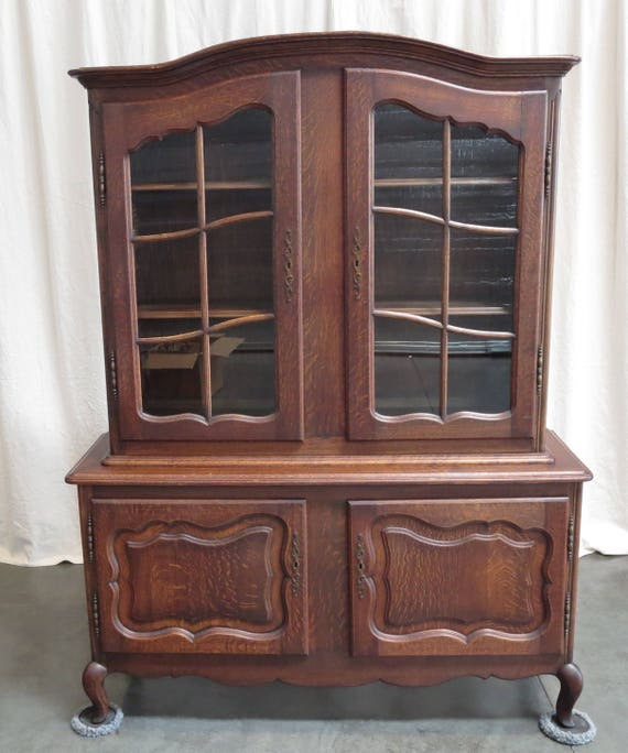 - Antique French Dark Oak China Cabinet Country French