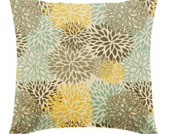 SALE Yellow pillow covers, Decorative pillows,  Yellow pillows , Blue Pillows , Brown pillow , linen pillows , retro pillows ZIPPER CLOSURE