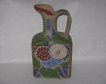 Vintage adobe clay water pitcher made in Mexico flowers colorful pottery