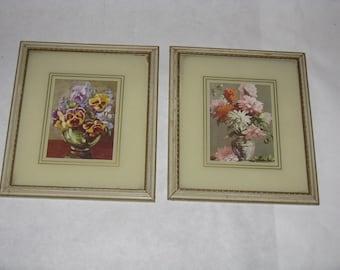 Pair of vintage small flower prints pansies dahlias original frames