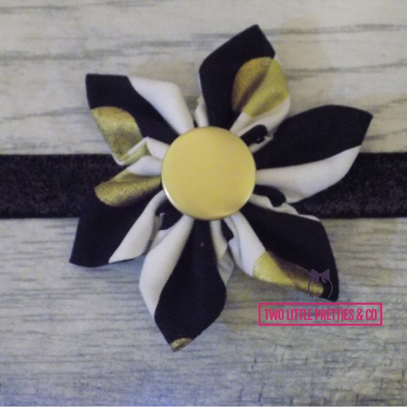 Large gold dot and stripes fabric flower headband | baby girl | hand sewn