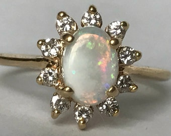 Vintage Opal and Diamond Ring. Halo Style Ring in 14K Gold. Unique Engagement Ring. Fire Opal. October Birthstone. 14th Anniversary Gift.
