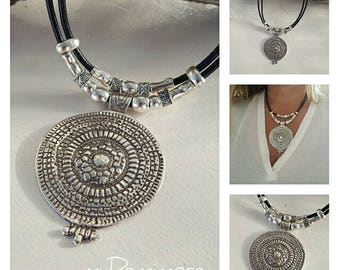 beaded leather necklace, Rings