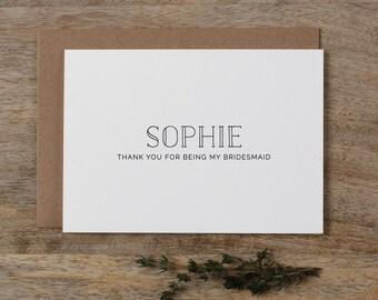 Personalised Bridesmaid Card, Custom Bridesmaid Card, Thank You For Being My Bridesmaid Card, Maid Of Honor Card Wedding Appreciation K5