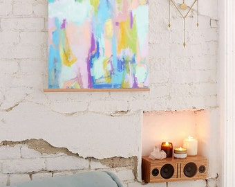 Large Oil Painting Original Modern Abstract Art White Amber Yellow Blue Oil Painting Contemporary Art Interior Design Wall Art