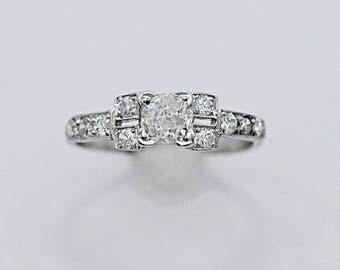 Vintage Engagement Ring .58ct. Diamond & Platinum Art Deco - J35589