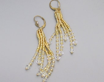 Earrings Gold with Crystals Long Dangle