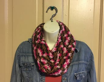 Crochet pink and brown fashion infinity scarf