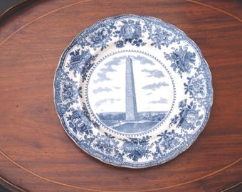 Flow Blue Bunker Hill Monument Souvenir Transferware  Adams & Co. England Historic Antique