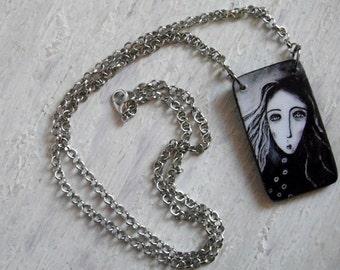 Handmade Wooden Art Pendant, with chain
