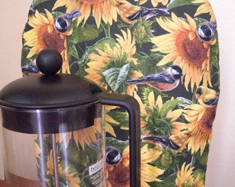 French Coffee Press Cozy Insulated with InsulBright and Warm Fleece Sunflowers and Birds