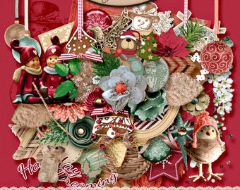 Digital Scrapbooking, Elements Pack, Christmas: Holiday Dreaming