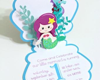 Mermaid Invitation - Mermaid Invitations - Pop-up Card - Birthday - Greeting Card - Thank You - Blank Card - Custom Order Avail. - 10/pack