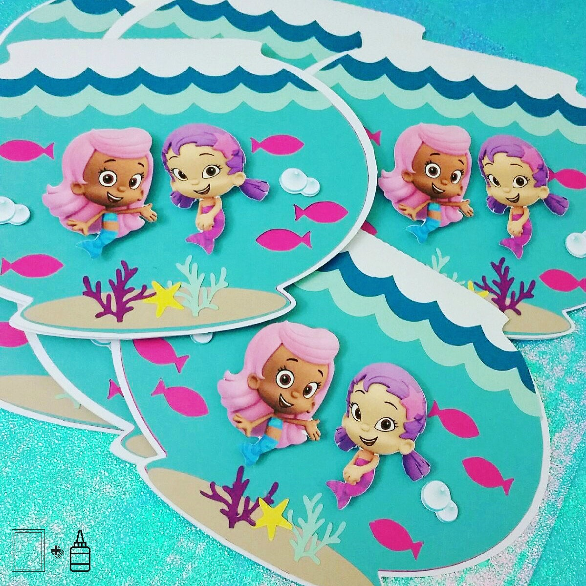 Bubble guppies invitations fish bowl by paperandpasteco on for Bubble guppies fish