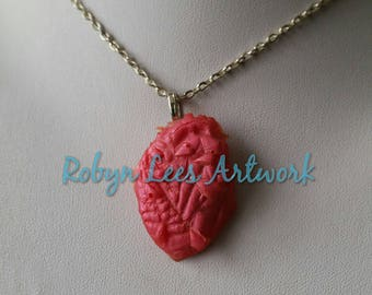 Metallic Pink Red Resin Shattered Heart Charm Necklace on Silver, Bronze or Gold Crossed Chain or Black Faux Suede Cord. Costume, Anatomy
