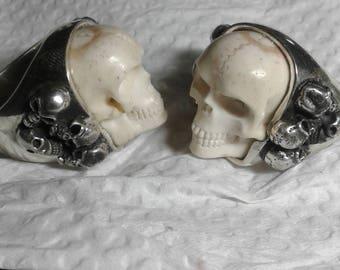 Silver handcarved skull ring,skull ring,carved skull