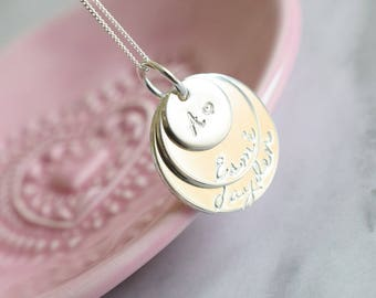 Circles of Love | Sterling Silver stacked Discs Necklace handstamped with initials and childrens names | personalised customised family