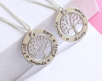 Family tree necklace | children kids grandchildren names grandkids nanny grandma mummy gift present birthday christmas of life love circle