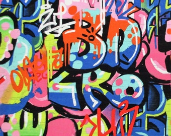 Fabric, Tag You're It, Bright Multi, Urban Graffiti, Alexander Henry, By the Yard