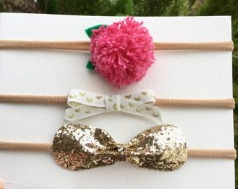 Handmade Beautiful Set of 3pc. Baby Girls, Toddlers nylon Headbands