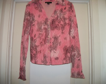 Retro 90s Does Steampunk, LOVELY in LACEY Salmon Pink Paisley LADIES Femme Shirt, By Inc. M