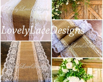 Burlap Lace Table Runner White/Ivory Lace, 5ft-10ft long x 13in Wide/Wedding Decor/ Weddings/Rustic Weddings/Tabletop decoration