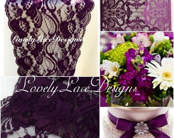 """PLUM Lace Table Runner/6ft long x 7"""" Wide/Wedding Decor/ Lace Overlay/Tabletop Decor/Tabletop Decor/Plum weddings/ENDS Not SEWN"""