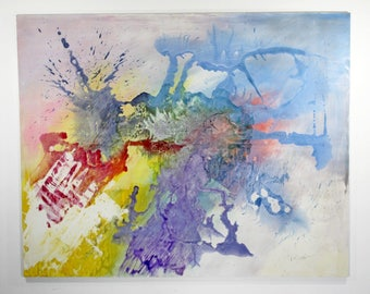 Contemporary Large Abstract Acrylic Colorful Painting Signed Friedman Dated 1990