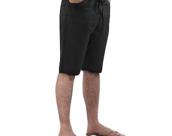 Mens Linen Beach wedding  Boho Knee Length Shorts, Plus size.