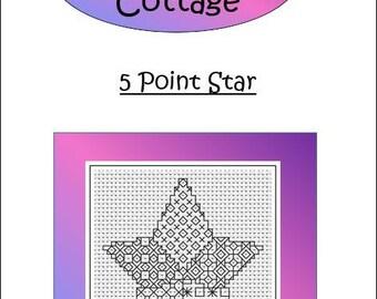 BLACKWORK CHART ~ 5 Point Star  ~ PDF Chart