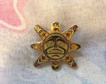 Vintage 1980s Salish Sun Enamel Pin