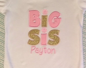 "Pink and Gold ""Big Sis"" Snowflake Shirt or Baby Bodysuit"